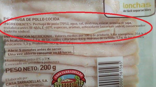 etiqueta nutricional composicion pechuga de pollo envasada 1