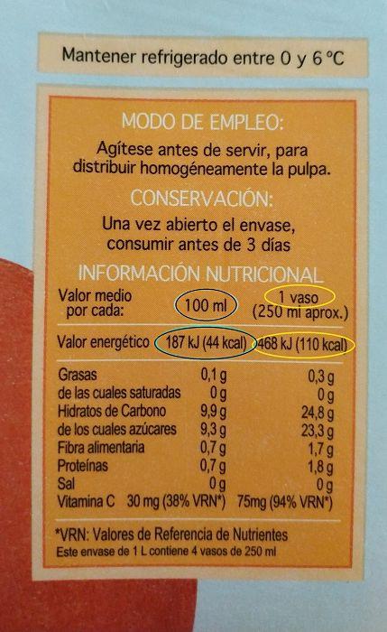 etiquetas de alimentos zumo de naranja mercadona 1